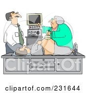 Man Watching An Ultrasound Technician Taking A Sonograph Of His Pregnant Wifes Belly