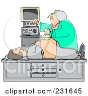 Royalty Free RF Clipart Illustration Of An Ultrasound Technician Taking A Sonograph Of A Pregnant Womans Belly by Dennis Cox