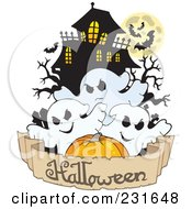 Royalty Free RF Clipart Illustration Of A Haunted Mansion With Three Ghosts And A Banner