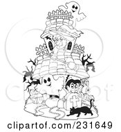 Royalty Free RF Clipart Illustration Of A Coloring Page Outline Of A Witch Ghosts And Vampire At A Haunted House