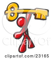 Clipart Illustration Of A Red Businessman Holding A Large Golden Skeleton Key Symbolizing Success
