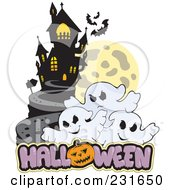 Royalty Free RF Clipart Illustration Of A Haunted Mansion With Three Ghosts And Halloween Text 3