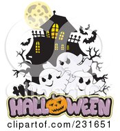 Royalty Free RF Clipart Illustration Of A Haunted Mansion With Three Ghosts And Halloween Text 1