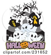 Royalty Free RF Clipart Illustration Of A Haunted Mansion With Three Ghosts And Halloween Text 2