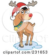 Royalty Free RF Clipart Illustration Of A Christmas Reindeer Wearing A Santa Hat
