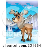 Royalty Free RF Clipart Illustration Of A Wild Reindeer In A Mountainous Landscape