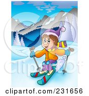 Royalty Free RF Clipart Illustration Of A Boy Skiing In A Mountainous Landscape