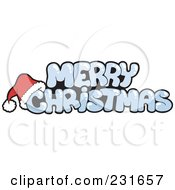 Royalty Free RF Clipart Illustration Of A Santa Hat On Icy Merry Christmas Text by visekart