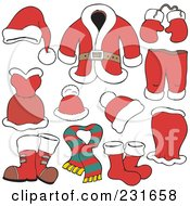 Royalty Free RF Clipart Illustration Of A Digital Collage Of Santa Apparel
