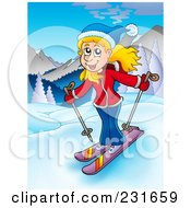 Royalty Free RF Clipart Illustration Of A Girl Skiing In A Mountainous Landscape
