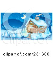 Royalty Free RF Clipart Illustration Of A Log Cabin In A Mountainous Landscape by visekart
