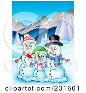 Royalty Free RF Clipart Illustration Of A Happy Snowman Family In A Mountainous Landscape