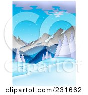 Royalty Free RF Clipart Illustration Of A Dusk Mountainous Landscape