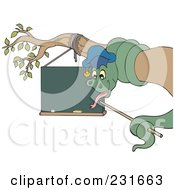Royalty Free RF Clipart Illustration Of A Professor Snake Coiled Around A Branch And Pointing At A Blank Chalk Board