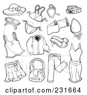 Royalty Free RF Clipart Illustration Of A Digital Collage Of Outlined Apparel 2 by visekart