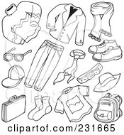 Royalty Free RF Clipart Illustration Of A Digital Collage Of Outlined Apparel 1 by visekart