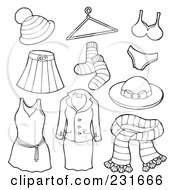 Royalty Free RF Clipart Illustration Of A Digital Collage Of Outlined Apparel 3 by visekart