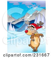 Royalty Free RF Clipart Illustration Of A Dancing Red Nosed Reindeer In A Mountainous Landscape