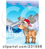 Royalty Free RF Clipart Illustration Of A Happy Red Nosed Reindeer In A Mountainous Landscape