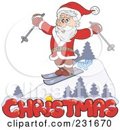 Royalty Free RF Clipart Illustration Of Santa Skiing On A Slope Over Christmas Text by visekart