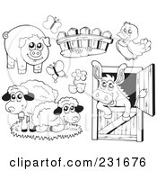 Royalty Free RF Clipart Illustration Of A Digital Collage Of Outlined Farm Animals by visekart