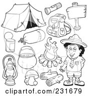 Royalty Free RF Clipart Illustration Of A Digital Collage Of Outlined Camping Gear