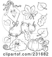 Royalty Free RF Clipart Illustration Of A Digital Collage Of Outlined Weather Icons by visekart