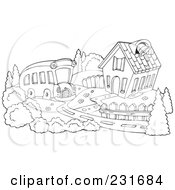 Royalty Free RF Clipart Illustration Of A Coloring Page Outline Of A School Bus Pulling Up To A School House