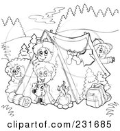 poster art print of coloring page outline of a group of camping kids