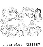 Royalty Free RF Clipart Illustration Of A Digital Collage Of Outlined Birds by visekart