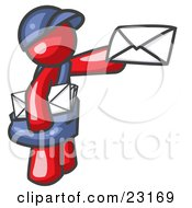 Clipart Illustration Of A Red Mail Man Delivering A Letter by Leo Blanchette