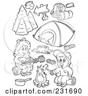 Royalty Free RF Clipart Illustration Of A Digital Collage Of Coloring Page Outlines Of Camping Kids And Items