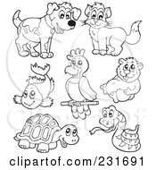 Royalty Free RF Clipart Illustration Of A Digital Collage Of Outlined Pets 2 by visekart