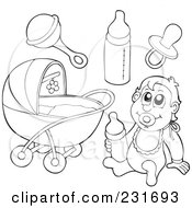 Royalty Free RF Clipart Illustration Of A Digital Collage Of Outlined Baby Stuff
