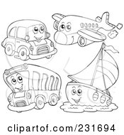 Royalty Free RF Clipart Illustration Of A Digital Collage Of An Outlined Car Plane Bus And Boat by visekart