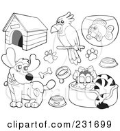 Royalty Free RF Clipart Illustration Of A Digital Collage Of Outlined Pets 1 by visekart