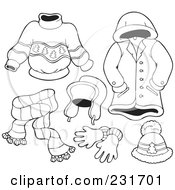 Royalty Free RF Clipart Illustration Of A Digital Collage Of Outlined Apparel 4 by visekart