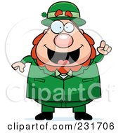 Royalty Free RF Clipart Illustration Of A Happy Leprechaun With An Idea