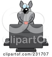 Happy Wolf Using A Computer