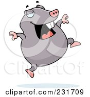 Royalty Free RF Clipart Illustration Of A Happy Mole Running And Jumping by Cory Thoman