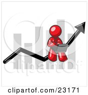 Red Man Using A Laptop Computer Riding The Increasing Arrow Line On A Business Chart Graph by Leo Blanchette