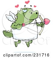Royalty Free RF Clipart Illustration Of A Chubby Green Lizard Cupid by Cory Thoman