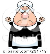 Royalty Free RF Clipart Illustration Of A Mad Chubby Pilgrim Woman