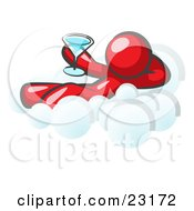 Clipart Illustration Of A Relaxed Red Man Drinking A Martini And Kicking Back On Cloud Nine