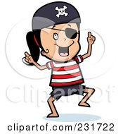 Royalty Free RF Clipart Illustration Of A Dancing Pirate Girl