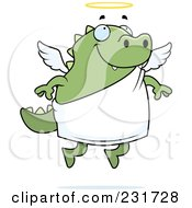 Royalty Free RF Clipart Illustration Of A Chubby Green Lizard Angel by Cory Thoman
