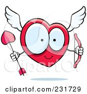 Royalty Free RF Clipart Illustration Of A Large Eyed Heart Cupid Holding A Bow And Arrow