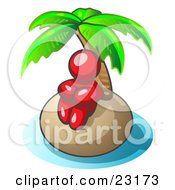 Clipart Illustration Of A Red Man Sitting All Alone With A Palm Tree On A Deserted Island