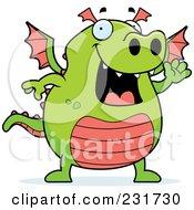 Royalty Free RF Clipart Illustration Of A Happy Waving Dragon
