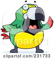 Royalty Free RF Clipart Illustration Of A Chubby Parrot Waving by Cory Thoman
